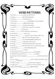 english worksheets verb patterns. Black Bedroom Furniture Sets. Home Design Ideas
