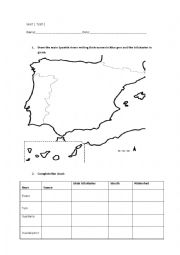 English Worksheet: Spain: rivers, tributaries and landforms: gulfs, capes, bays, archipielagos, etc
