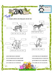 ENGLISH TEST: Animal body parts, has/have got hasn´t/haven´t got, big, small, short, long