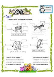 English Worksheet: ENGLISH TEST: Animal body parts, has/have got hasn�t/haven�t got, big, small, short, long