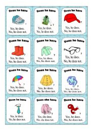 English Worksheet: Clothes go fish game PART 1/2