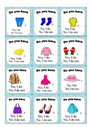 English Worksheet: Clothes go fish game PART 2/2