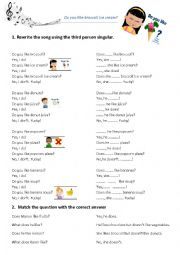 English Worksheet: Do you like broccoli ice cream ? (+ third person)