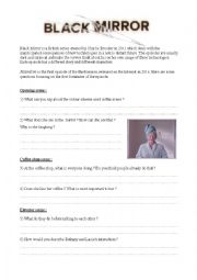 Black Mirror - Nosedive - Worksheet on social networks