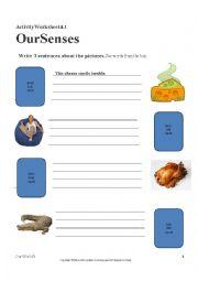English Worksheet: 5 senses - Linking verbs