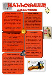 English Worksheet: HALLOWEEN TRADITIONS