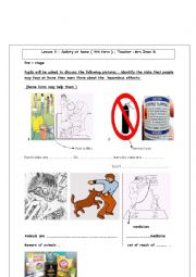 English Worksheet: Lesson 5 Safety at home ( 9th form )