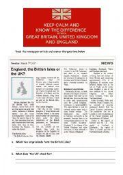 English Worksheet: The British Isles vs the United Kingdom vs England