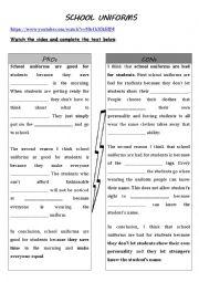 English Worksheet: school uniforms, good or bad?