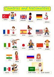 English worksheet: COUNTRIES NATIONALITIES