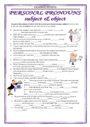 English Worksheet: GRAMMAR REVISION - personal pronouns 2