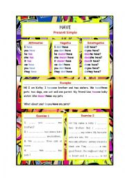 English Worksheet: Have-Graffiti-style Grammar Guide
