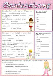 English Worksheet: Contractions
