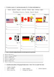 English Worksheet: Countries, nationalities and verb to be