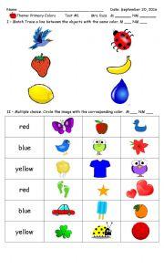 English Worksheet: Primary Colors PreSchool - Kinder