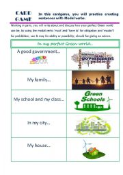 English Worksheet: my perfect green world