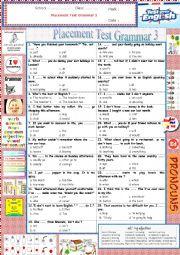 English Worksheet: Gr Ex - Placement Test Grammar 3
