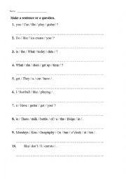 English Worksheet: Jumbled sentences (revision exercise, homework)
