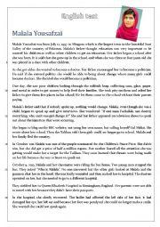 English worksheets: malala worksheets