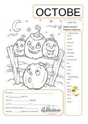 English Worksheet: October Divider