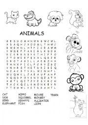 English Worksheet: Animal elementary wordsearch
