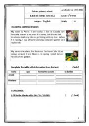 English Worksheet: 6th form exam 2nd term (tunisian program)