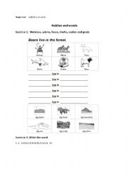 English Worksheet: Habitat test