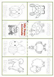 English Worksheet: Minibook Farm Animals