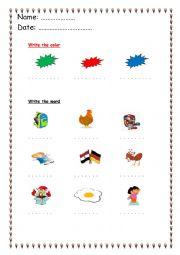 English worksheet: alphabet words a : k