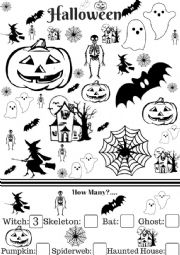 English Worksheet: Halloween vocabulary and counting exercise.