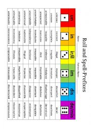 English Worksheet: Roll and Spell Prefixes
