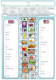 English Worksheet: Food - British and American English