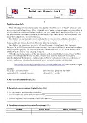 English Worksheet: 8th grade - English Test - Environment