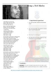 English Worksheet: Bob Marley - Redemption song with answers!