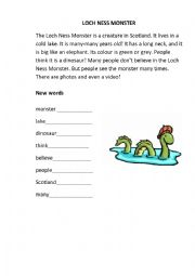 English Worksheet: Loch Ness Monster