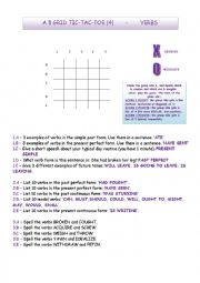 English Worksheet: Tic-tac-toe Verbs (4)