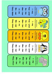 English Worksheet: Subject pronouns and possessive adjectives bookmarks