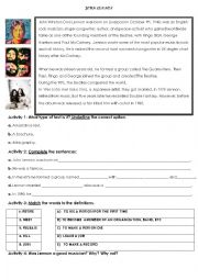English Worksheet: JOHN LENNON BIOGRAPHY