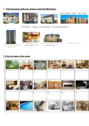 English Worksheet: TYPES OF HOUSES AND ROOMS