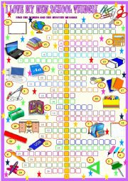 English Worksheet: My new schhol things, crosswords with  hidden  message andKEY