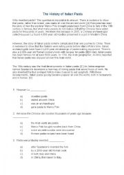 English Worksheet: italian pasta