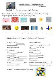 English Worksheet: Singing in the rain