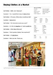 English Worksheet: Buying Clothes at a Market Stall