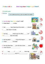 English Worksheet: Transports: How long does it take to get to _?