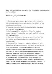 English Worksheet: False statements about Ukraine�s Legal System