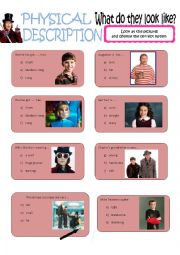 English Worksheet: physical description with the characters from Charlie and the chocolate factory