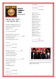 English Worksheet: Adjectives: Sweet Child O´ mine - Guns N´ Roses