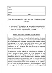 English Worksheet: TEST - Reading, passive voice, phrasal verbs and false friends