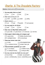 English Worksheet: charlie and the chocolate factory
