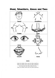 English Worksheet: Parts of the body. Flash cards and song